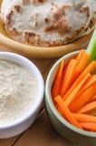 Hummus Dip and Pitta Breads with Crudites Stock Image