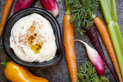 Hummus Dip with Raw Vegetables.  Overhead View. Stock Photography