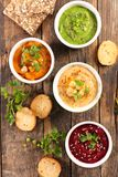 Hummus and dips. Top view stock photo