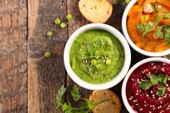 Hummus and dips. On wood royalty free stock photo