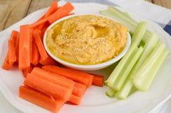Hummus e salada Fotos de Stock Royalty Free