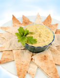 Hummus en pitabroodje Stock Fotografie