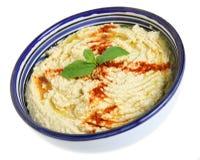Hummus en tazón de fuente árabe Imagen de archivo