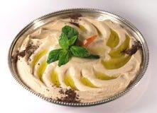 Hummus en una bandeja Imagen de archivo