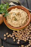 Hummus, everyday meals in Israel made from chickpeas and ingredi. Hummus, dip of spread, everyday meals in Israel made from chickpeas and ingredients that Stock Image
