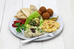 Hummus, falafel, baba ghanoush, tabbouleh Stock Photos