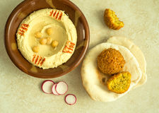 Hummus and Falafel. Royalty Free Stock Images