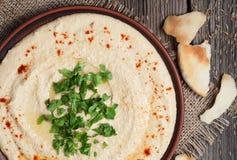 Hummus gezond het op dieet zijn voedingsvoedsel, volledig van stock foto's