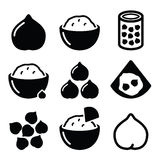 Hummus or houmous , chickpeas  icons set Stock Photography