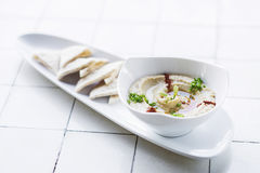 Hummus houmous middle eastern vegetarian healthy snack food. Hummus houmous middle eastern vegetarian veggie healthy snack food Royalty Free Stock Photography