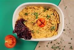 Hummus houmous recept, i att förpacka för papp Royaltyfria Bilder