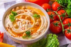 Hummus i chickpea Żydowska kuchnia Odgórny widok Fotografia Royalty Free