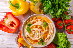 Hummus i chickpea Żydowska kuchnia Odgórny widok Zdjęcia Stock