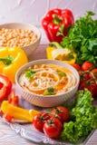 Hummus i chickpea Żydowska kuchnia Odgórny widok Obrazy Royalty Free