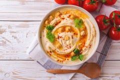 Hummus i chickpea Żydowska kuchnia Odgórny widok Obrazy Stock