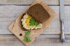 Hummus kanapka z całej banatki chlebem Fotografia Royalty Free