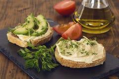Hummus kanapki zdjęcie stock