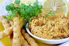 Hummus with Lemon and Cilantro royalty free stock photography