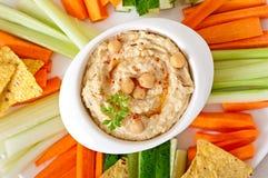 Hummus med grönsaker arkivbild