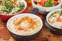 Hummus, mergulho do grão-de-bico Fotografia de Stock