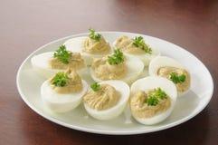 Hummus a metà dell'uovo Immagine Stock Libera da Diritti
