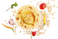 Hummus with mint and the fresh vegetables Stock Photos