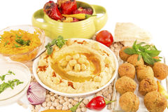 Hummus with mint and the fresh vegetables Stock Images