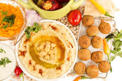 Hummus with mint and the fresh vegetables Stock Image