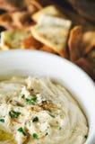 Hummus mit Pita Chips Stockbild
