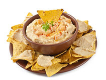 Hummus with olive oil and pita chips Royalty Free Stock Images