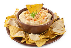 Hummus with olive oil and pita chips Stock Photo