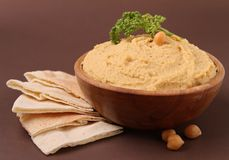 Hummus and pita Stock Photo