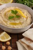 Hummus and pita bread - close-up Stock Photography