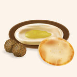 Hummus with pita bread, falafel  isolated. Royalty Free Stock Image