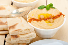 Hummus with pita bread Stock Photos