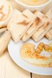 Hummus with pita bread Stock Photo