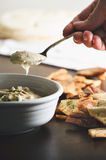 Hummus with Pita Chips Royalty Free Stock Photos