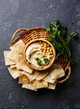 Hummus with pita chips and parsley Royalty Free Stock Image