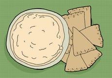 Hummus and Pita Chips Royalty Free Stock Photos