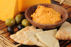 Hummus with pita toast wedges Royalty Free Stock Photos