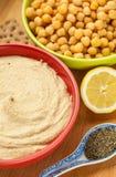 Hummus pucharu przekąska Fotografia Stock