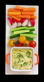 Hummus and raw vegetables. For a healthy snack Stock Image