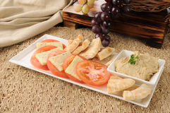 Hummus snack plate Stock Photos