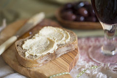 Hummus Spread. Creamy hummus spread on healthy whole wheat toast Royalty Free Stock Photos