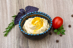 Hummus. Traditional arabic cusine - hummus with herbs, olive oil and spices Stock Photography