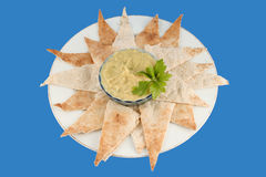 Hummus und pita stockbild