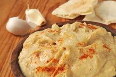 Hummus van het knoflookkruid stock foto