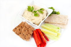 Hummus and vegetables Royalty Free Stock Photography