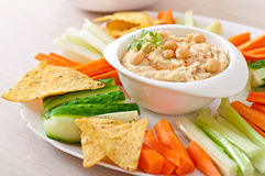 Hummus with vegetables Royalty Free Stock Photo