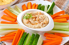 Hummus with vegetables Stock Image